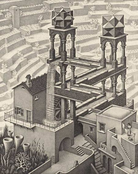 Waterfall  (1961) -- M C Escher