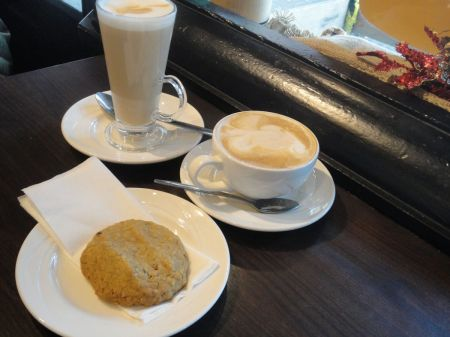 latte, cappuccino and cookie