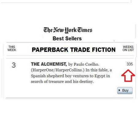 The Alchemist three hundred and thirty-five weeks New York Times best-seller list
