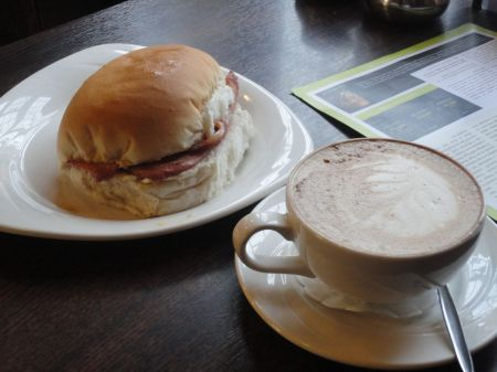 bacon bap and cappuccino