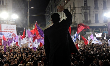 Syriza leader addresses a rally