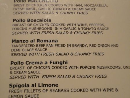menu pollo boscaiola