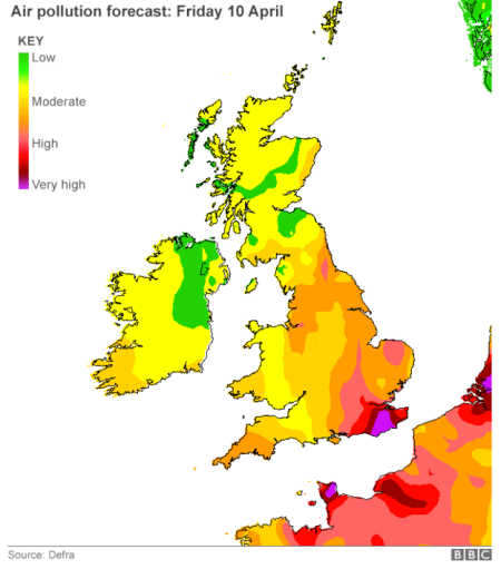 air pollution forecast Friday 10 April 2015