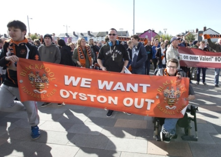 Blackpool fans outside a game