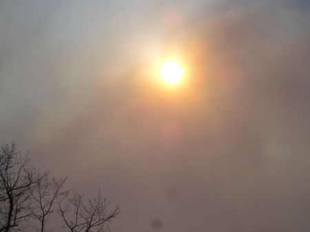 smoke pollution obscuring the sun