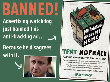 banned Greenpeace anti-fracking ad