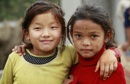 Nepalese girls who survived at the epicentre of earthquake