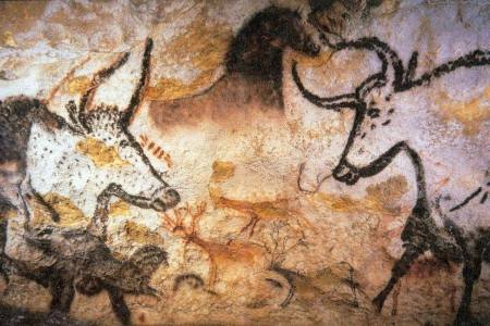 Rock painting from The Lascaux Caves, France