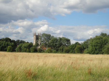 Farnham Parish Church seen across Manor Field