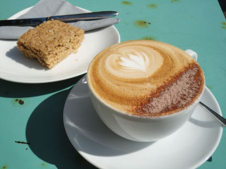 cappuccino and flapjack