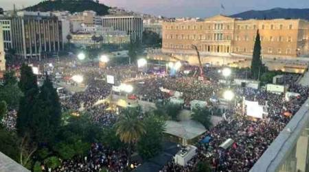 mass  rally in Athens in support of NO vote
