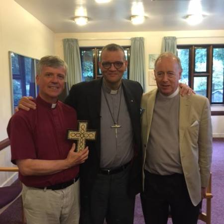 Andrew White with Bishop of Guildford and Archdeacon
