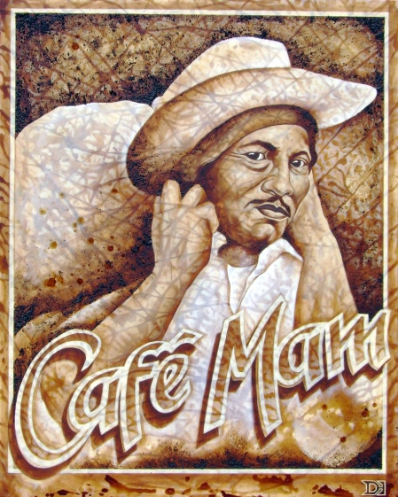 Cafe Mam - coffee and acrylic on canvas -- Derek Hobbs