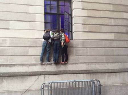 More than 2,000 people came to hear Jeremy Corbyn speak at the Camden Centre tonight, not everyone could get in. These three teenagers climbed the side of the building to get a listen.