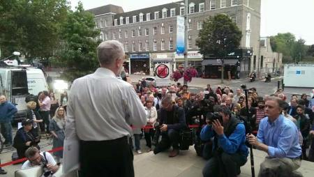 Jeremy Corbyn addressing second meeting outside Ealing Town Hall