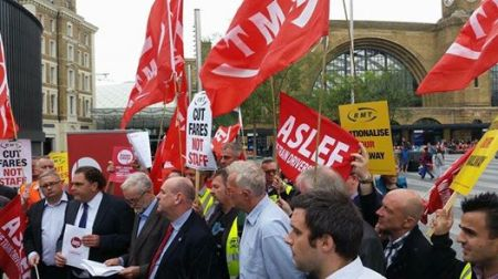 Before getting on the train to the North East, Jeremy Corbyb took time out at King's Cross to join the Action for Rail protest for an affordable railway under public ownership