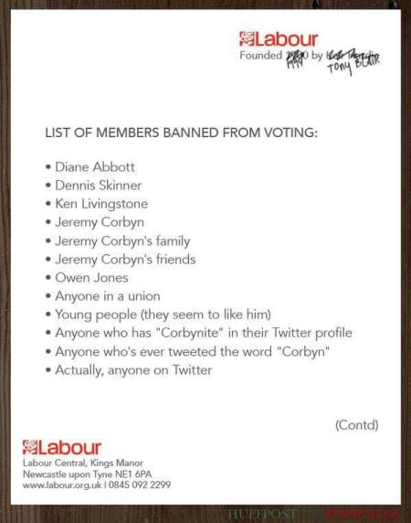 Labour Party list of members barred from voting