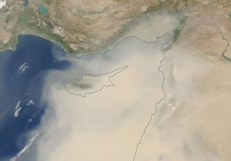 Cyprus dust storm map
