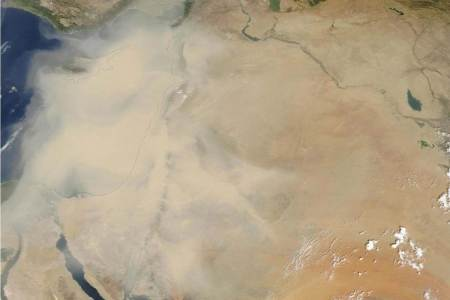 Middle East dust storm across parts of Israel, Lebanon, Syria, Jordan, Cyprus and Iraq / NASA