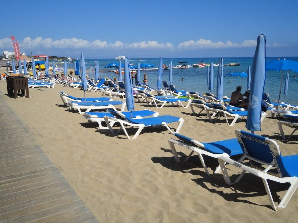 Protaras empty sun beds
