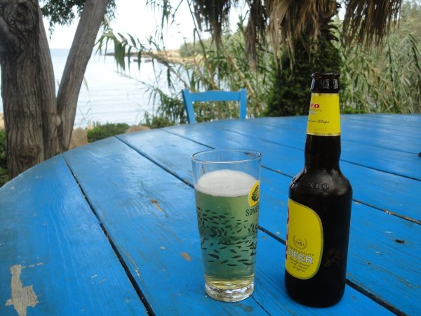 a beer at Sirena Bay