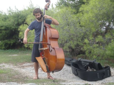 Alejandro playing double bass