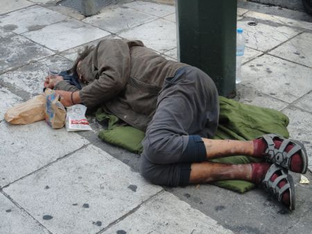 homeless sleeping on the streets of Athens