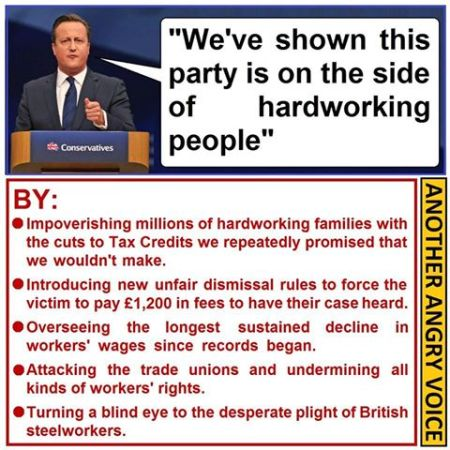 David Cameron on the side of hard working people