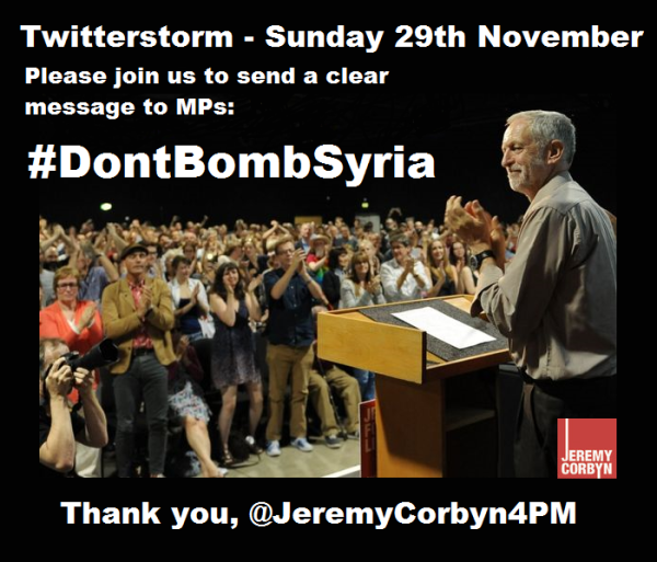 #DontBombSyria twitterstorm 1800 GMT Sunday 29 November 2015