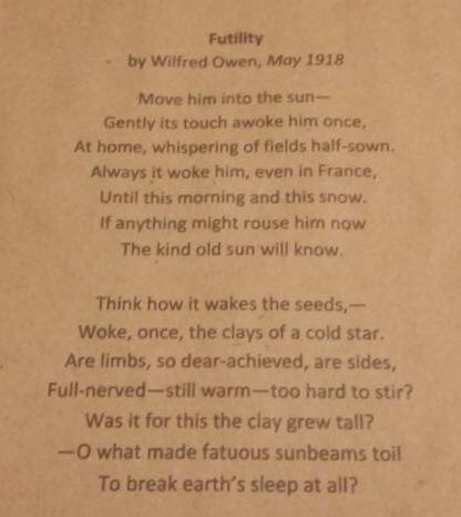 Futility by Wilfred Owen, May 1918