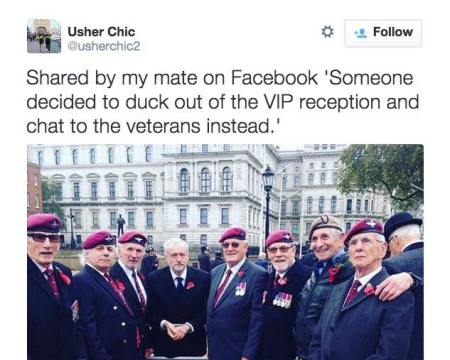 Jeremy Corbyn chatting to veterans