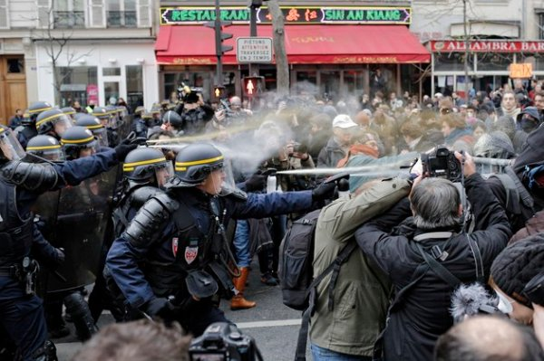 Paris COP21 riot police attack peaceful demo