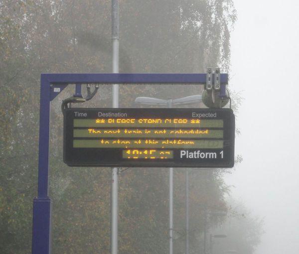 no information of rail works on platform display