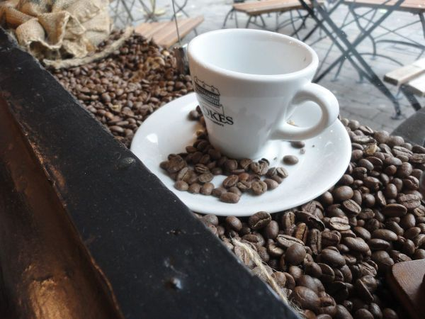 coffee beans and china cup