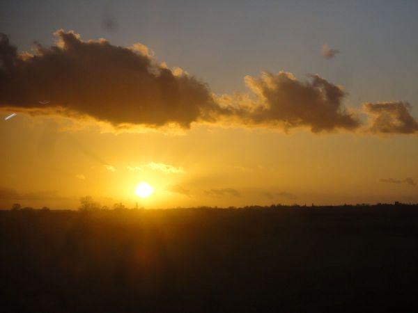 winter solstice sunset outside Newark
