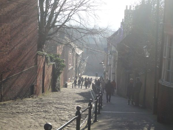 looking down Steep Hill