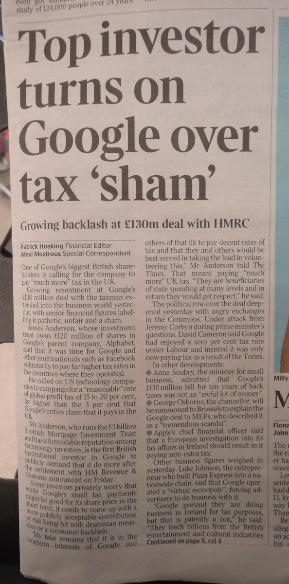 Top investor turns on Google over tax 'sham' - Times 28 January 2016