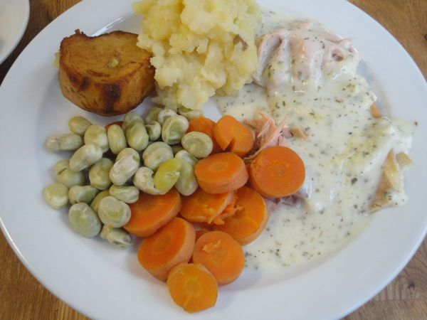 roast gammon, potatoes and vegetables
