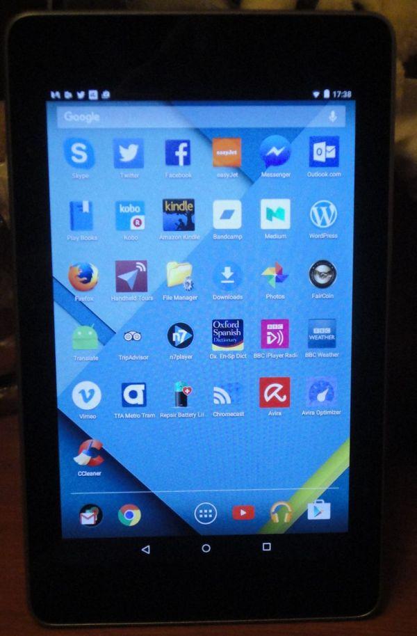 Android Lollipop ver 5.1.1 running on Google Nexus 7 2012 edition