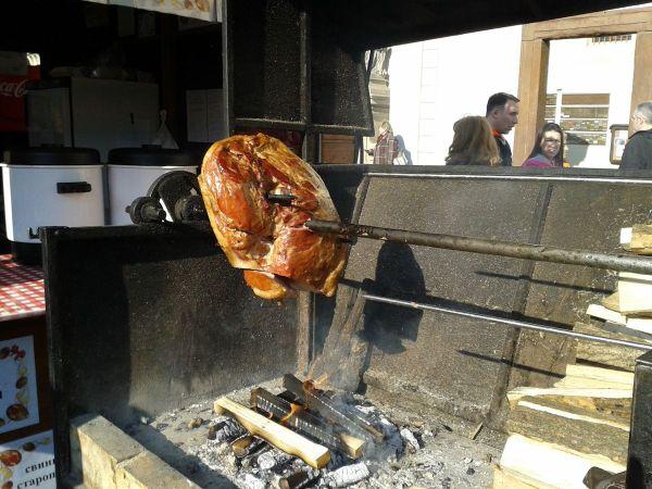 ... ham roasting on a spit