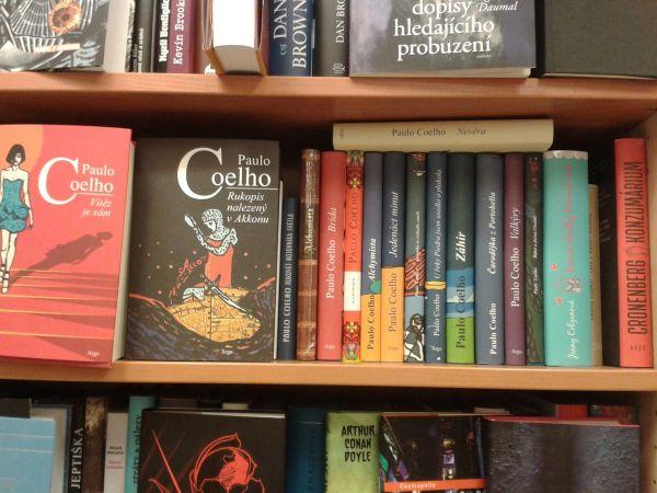 Paulo Coelho books in Prague bookshop
