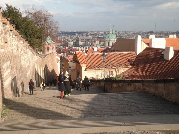 steps leading down from Prague Castle