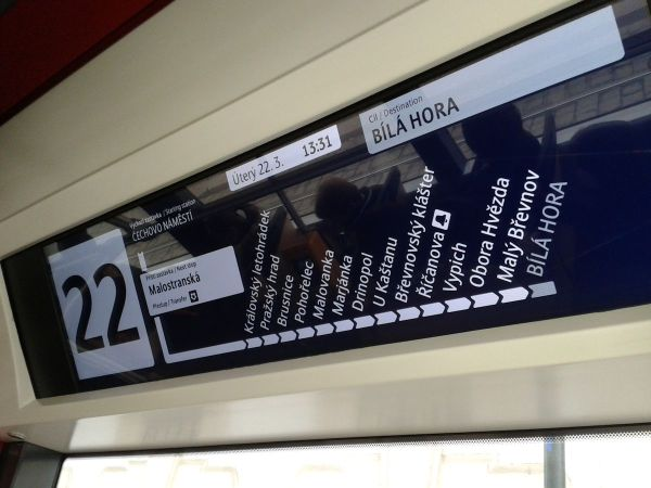 display showing where the tram is located
