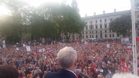 Jeremy Corbyn support rally outside Parliament