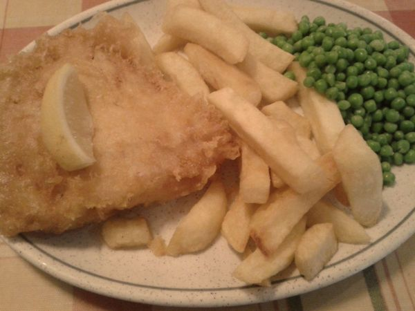 cod and chips and peas