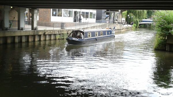 narrow boat on River Wey