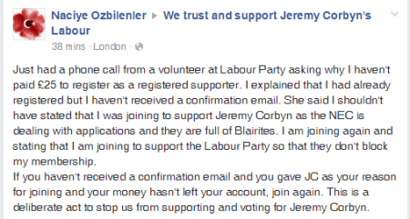 Naciye Ozbilenler warned of Blairites blocking registrations