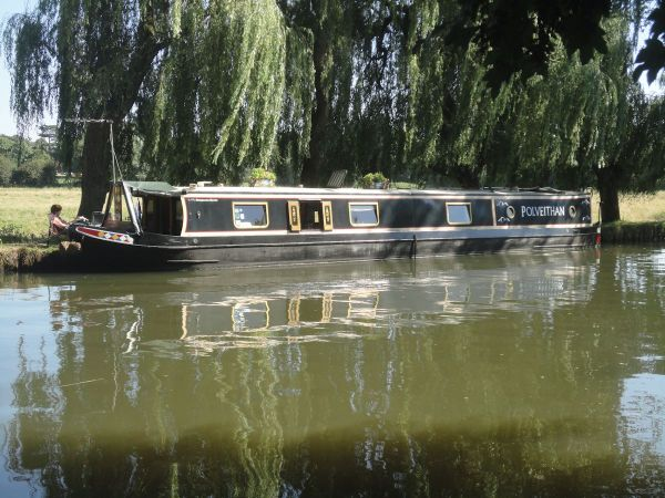 narrow boat moored on River Wey
