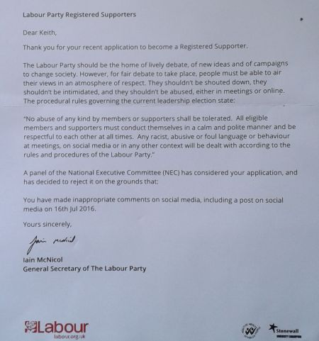 letter from Iain McNicol