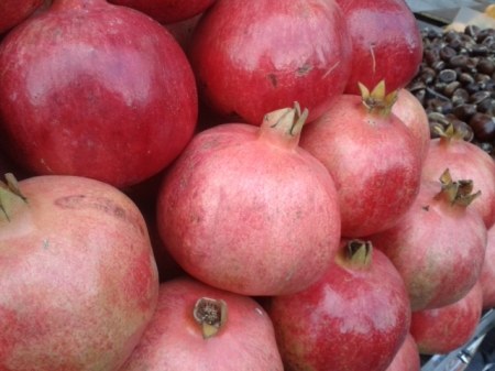 pomegranates on market stall in Monastiraki